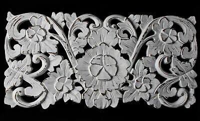 Balinese Lotus Relief Panel Architectural Wall art hand carved wood whitewash