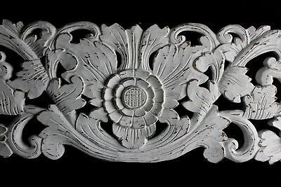 Balinese Lotus Architectural Panel Wall Art Carved Wood Relief Whitewash