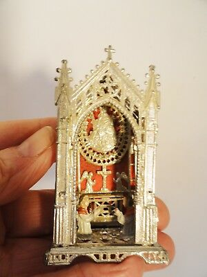 Antique Filigree Metal Alter Church Display For Table Top