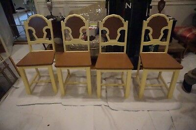 Vintage Set Of Four Kitchen Dining Chairs Farm Style