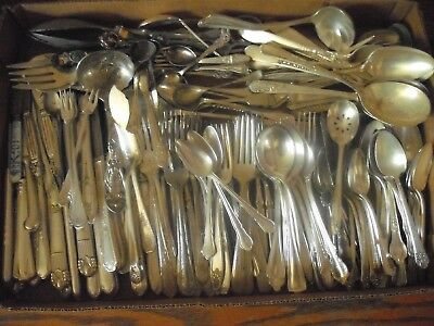 150 Pc Mixed Lot Silverplate/Antique Flatware/Serving   #192