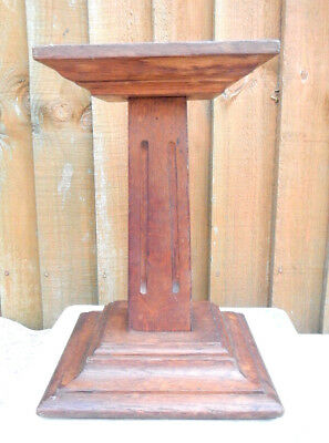 Antique Art Deco Column Oak Shop Display Stand~Millinery Hat Stand~Florists Shop