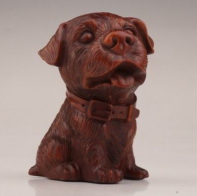 Rare Chinese boxwood statue old hand carved English bulldog house lovely
