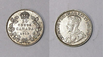 1919 CANADA STERLING SILVER DIME LUSTROUS XF/aUNC. INV#336-44