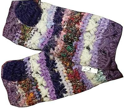 New Funky Hippie Boho Handmade Crochet Wool Fleece Lined Arm Warmers Glove Nepal