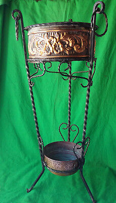 Antique walking stick / umbrellas stand arts & crafts copper wrought iron
