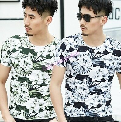 Mens Round Neck Floral Printing Tops Short Sleeve T Shirt Casual Sports T Shirt