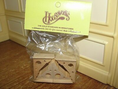 Dollhouse Miniature Natural Wood Eaves Brackets 4 Pieces  NRFP by Houseworks
