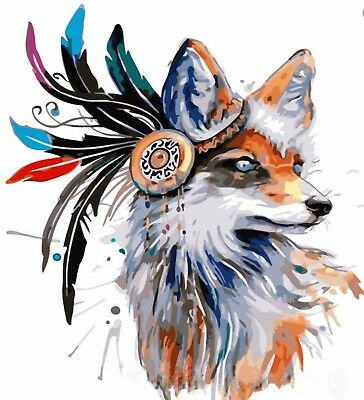 BOHEMIAN ABSTRACT FOX PAINTING PAINT BY NUMBERS CANVAS KIT 20 x 16 in FRAMELESS