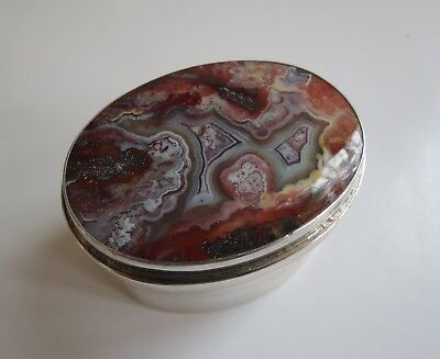 Lovely antique crazy red & white lace agate sterling silver covered trinket box
