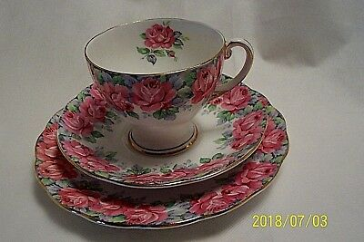 Rare Royal Standard Rose of Sharon Bone China Trio Tea Cup & Saucer Cookies Set