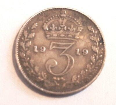 1919 Silver Threepence/ 3d. Great Britain. King George V. Coin/ .925/ UK/ Fair