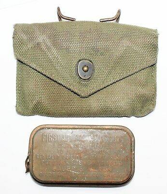 Original US WWII 1st Aid Dressing Pouch With Metal Carlisle Field Dressing