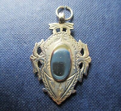 Lovely Antique double sided  sterling silver Fob/pendant  Birmingham 1908.