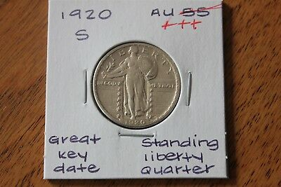 1920-S   Great Key Date  Au+++  Standing Liberty Quarter