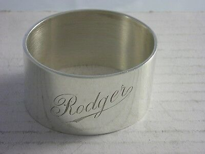 SUPERB 1936 Silver Napkin Ring 56 grams great condition Engraved RODGER
