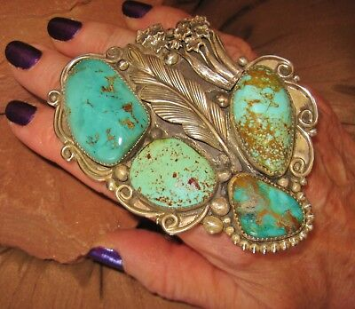 NAVAJO FLOWER RING - CHAVEZ -Gorgeous Fat Turquoise,Sterling Silver, 68gr size 8