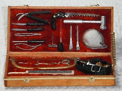Dollhouse miniature handcrafted 1/12th scale Doctors Tools instruments case