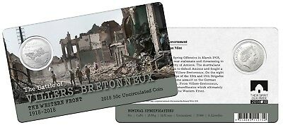 2018 - Western Front  - Villers Bretonneux    (RAM carded 50c coin).....     e