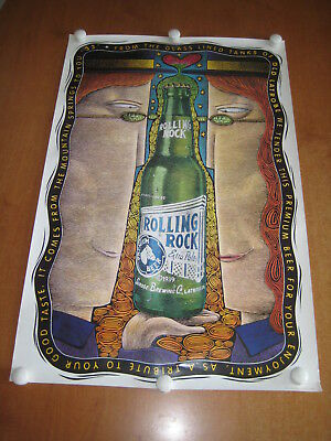 ROLLING ROCK BEER poster 1999 Latrobe Brewing Company GRATEFUL DEAD trippy