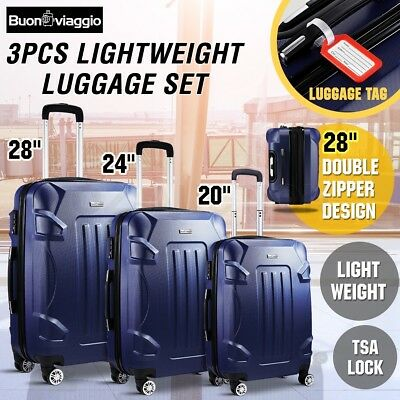 3PCS Expandable Spinner Luggage Suitcase Set Trolley w/TSA Lightweight-Dark Blue