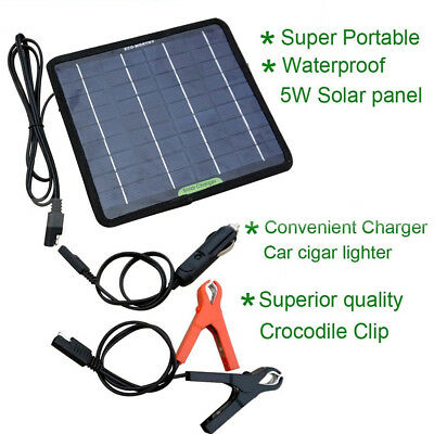 Powerful 12V 5W Watt Portable Solar Panel Battery Charger for Car Boat Camping