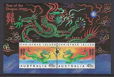 2000 Christmas Island Year Of The Dragon Mini Sheet Fine Mint Mnh/muh
