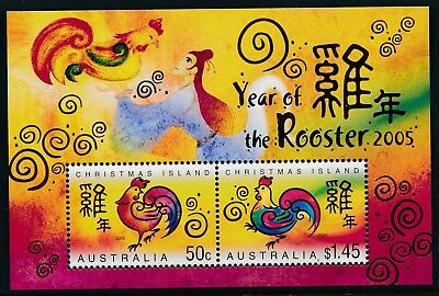 2005 Christmas Island Year Of The Rooster Minisheet Fine Mint Mnh