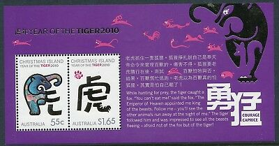 2010 Christmas Island Year Of The Tiger Minisheet Fine Mint Mnh
