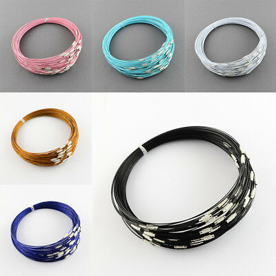 Stainless Steel Wire Necklace Cord For DIY Jewelry Making with Brass Screw Clasp