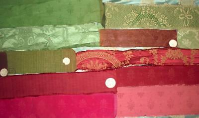 12 BEAUTIFUL ANTIQUE FRENCH SILK & SILKY SAMPLES ORIGINAL LABELS c1930, 61.