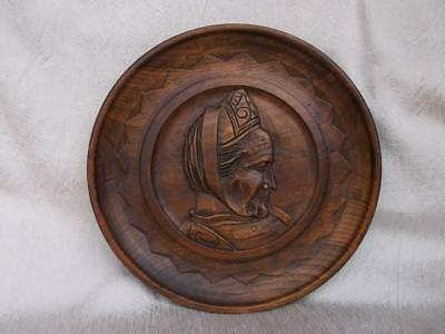 205 / Beautiful Antique French Britanny Signed Hand Carved Wooden Wall Plaque