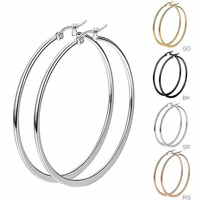 Women New Pair Big Gold Plated Hoop Earrings Large Circle Chic Hoops Gift