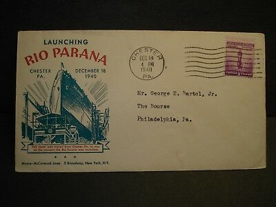 Ship RIO PARANA, MOORE McCORMACK Line Naval Cover 1940 Launch Cachet CHESTER, PA