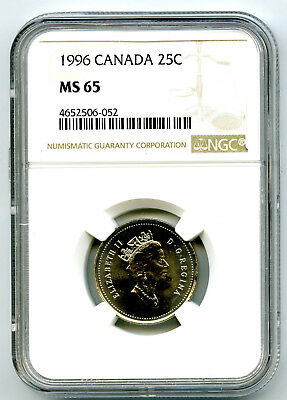 1996 Canada 25 Cent Ngc Ms65 Caribou Quarter Ms Rare Unc Population Pop Only 22