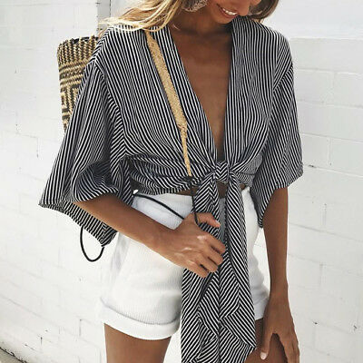 2018 Women Sexy Long Sleeve Casual Loose Blouse Off Shoulder Crop Top T-Shirt