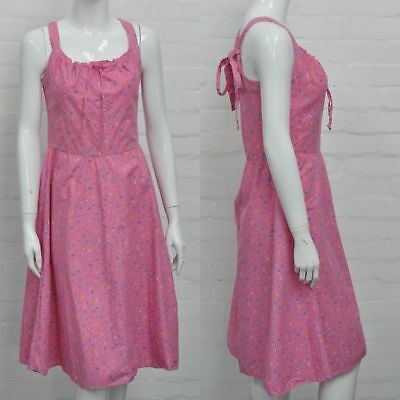 Vintage 80s Pink Floral Summer Dress 10 Pure Cotton Everyday Summer Party