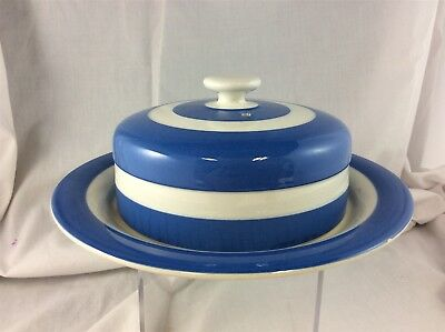 T.G. Green - Blue & White Stripes - Cornishware - Round Dome Lid - Butter Dish