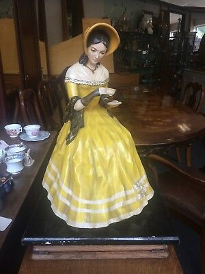 Vintage Large Wooden Figurine In Yellow Crinoline Dress Resting With Cup Of Tea