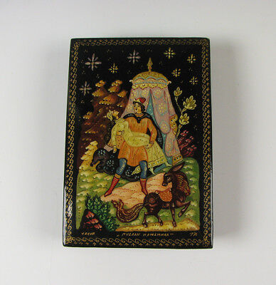 Russian Black Lacquerware Box with hand Painted Scene Lacquer Art