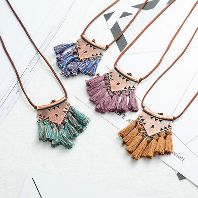 Women Boho Long Tassel Metal Triangle Pendant Necklace Sweater Leather Chain NEW