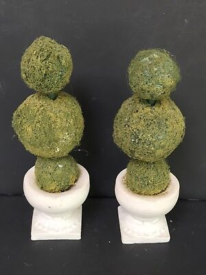 """Dollhouse Miniature TWO Large Topiary Trees 3 Tiers W Ceramic Urns 5"""""""