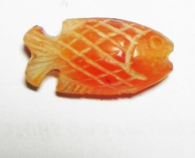 ZURQIEH -as6536- ANCIENT HOLY LAND, CANAANITE CARNELIAN FISH AMULET. 1300 B.C