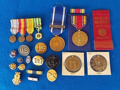 Lot Of Us Military Pins Medals Badges Insignia Pins Lot 19 Pcs Ww2 And Post Ww2
