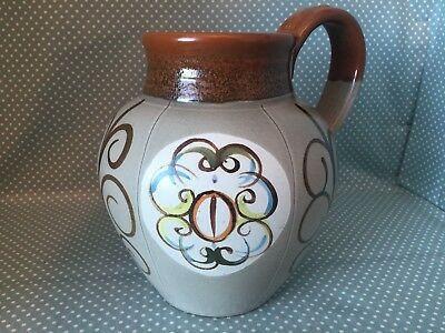 Glyn Colledge, Bourne, Denby studio pottery hand painted signed 60's ovoid jug.