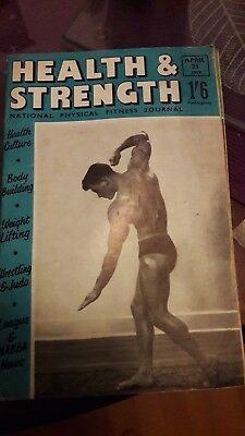 Bodybuilding magazine HEALTH AND STRENGTH APRIL   1959