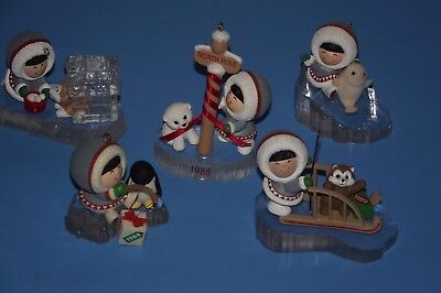 collection LOT OF 5 HALLMARK vintage FROSTY FRIENDS ORNAMENTS 1984 - 1993 no box