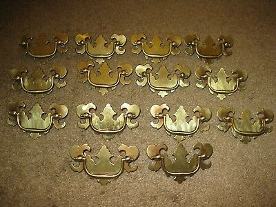 Lot of 14 SOLID BRASS DRAWER PULLS