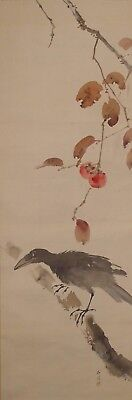 #0159 Japanese Hanging Scroll: Crow on Persimmon Tree