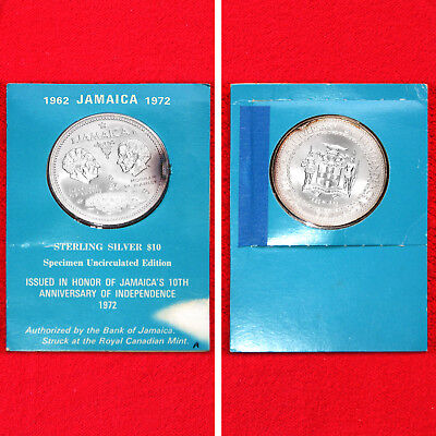 1972 Jamaica 10 Dollar 10Th Anniversary Of Independence .925 Silver Unc Coin